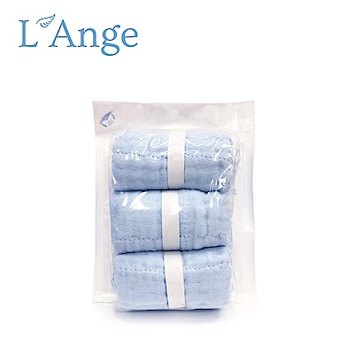 L'Ange 棉之境 9層多功能紗布小方巾 22x22cm 3入組-藍色