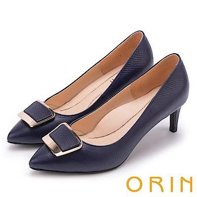 ORIN 典雅氣質 梯形金屬釦環羊皮高跟鞋-藍色