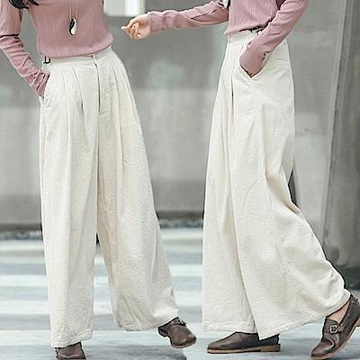 休閒褲小凹凸肌理燈蕊絨寬管褲/設計所在/K8801