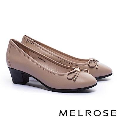 高跟鞋 MELROSE 經典復古素雅蝴蝶結全真皮高跟鞋-米