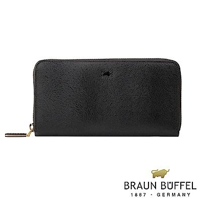 BRAUN BUFFEL - 奧菲莉亞V系列12卡拉鍊長夾 - 深邃黑