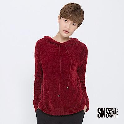 SNS 慵懶率性絨毛抽繩連帽針織衫(2色)