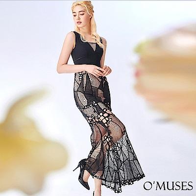 OMUSES V領蕾絲拼接長禮服