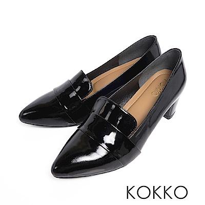KOKKO  - 女紳風範尖頭透氣真皮樂福粗跟鞋-亮皮黑