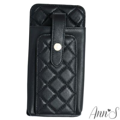 Ann'S小羊皮優雅菱格手機皮夾包-黑