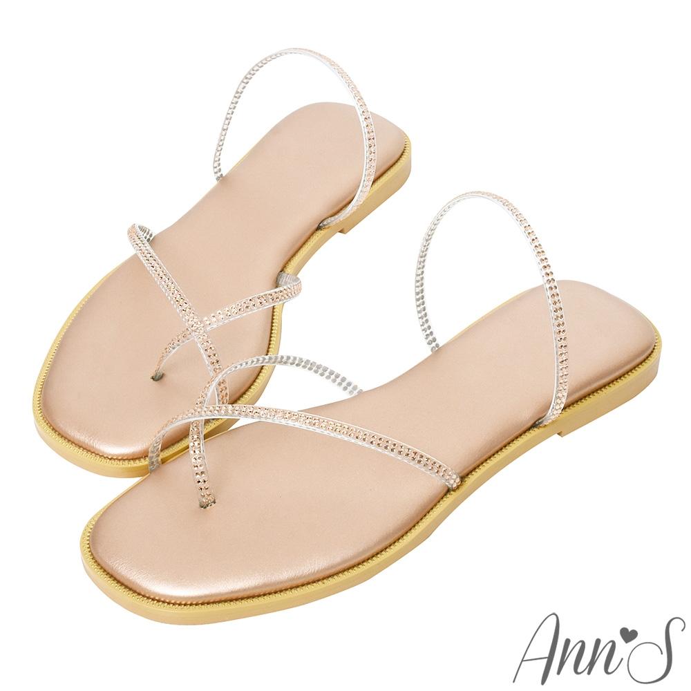 Ann'S裸膚透明系-軟質鑽石夾腳方頭平底涼拖鞋-玫瑰金(版型偏小)