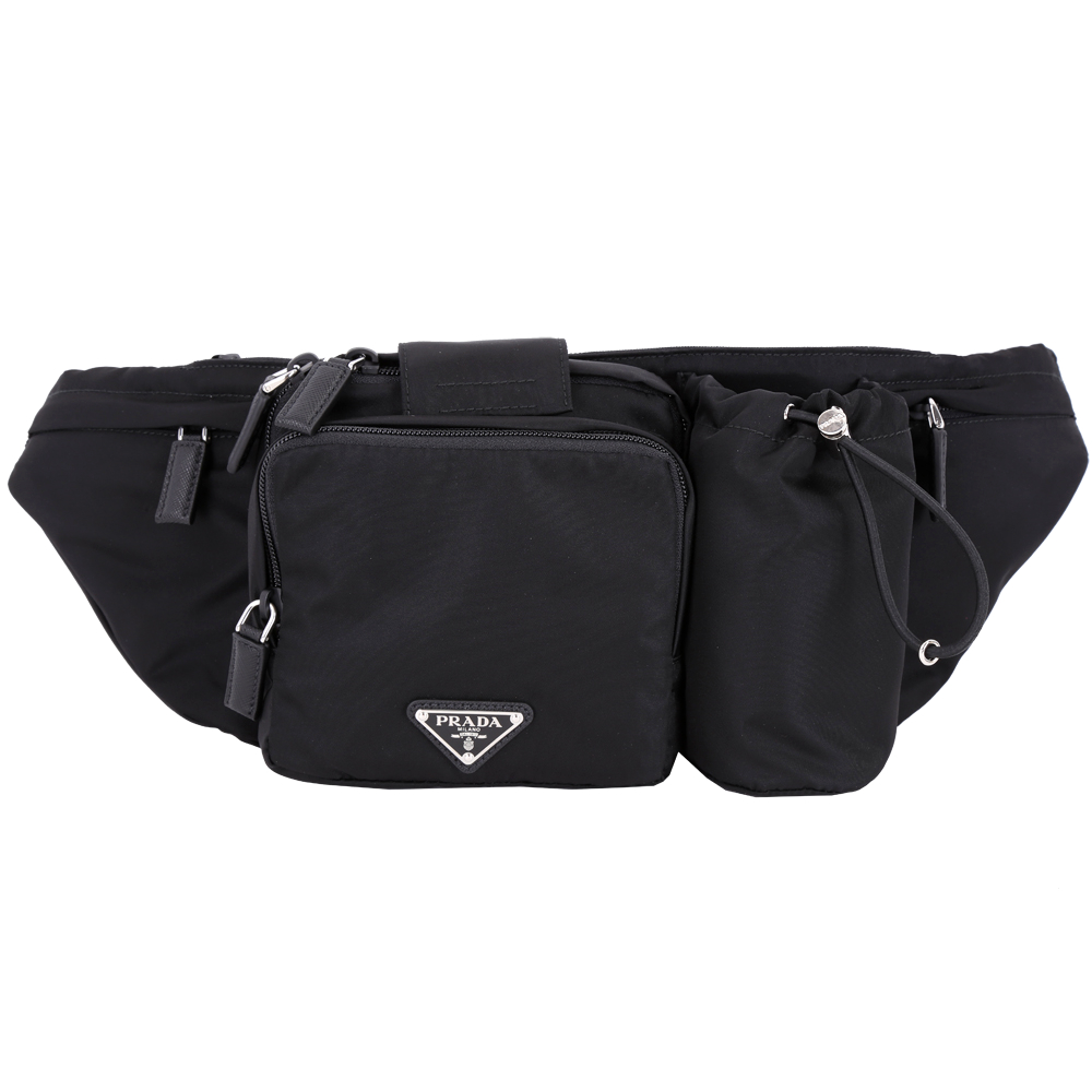 PRADA Tessuto 三角牌多功能尼龍肩胸背/腰包(黑色)PRADA
