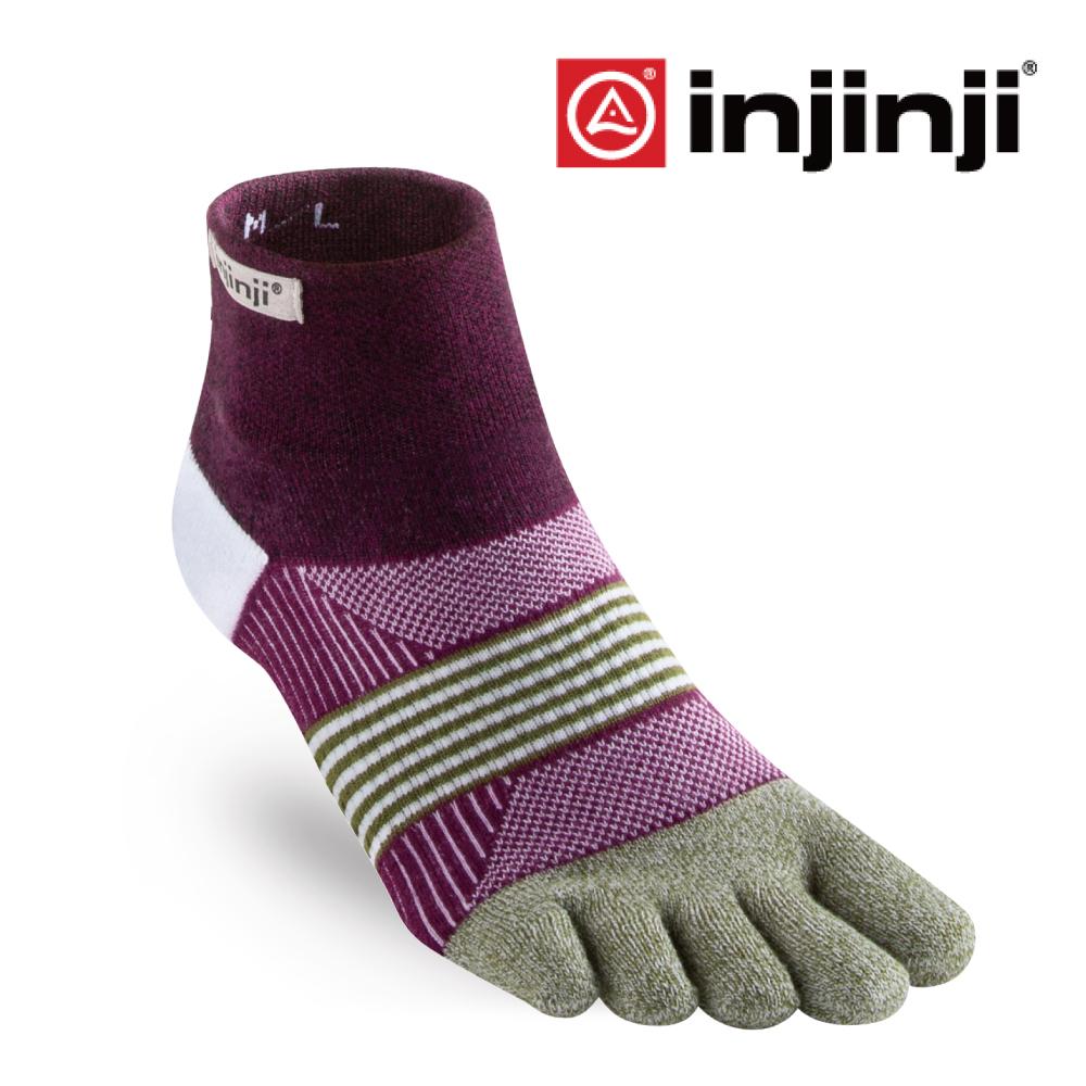 【INJINJI】女性野跑避震吸排五趾短襪-茄紫
