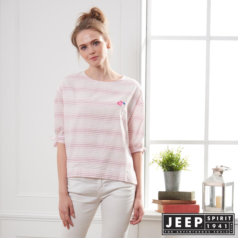 JEEP 女裝 漸層條紋造型短袖襯衫-粉色