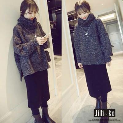 JILLI-KO 堆堆領混色寬鬆針織毛衣- 黑色