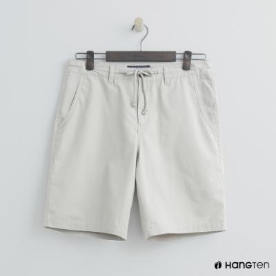 Hang Ten - 男裝 - 簡約綁帶棉質休閒短褲-淺卡其