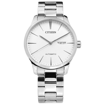 CITIZEN 極簡自動上鍊礦石強化玻璃日期星期不鏽鋼機械錶-銀色/40mm