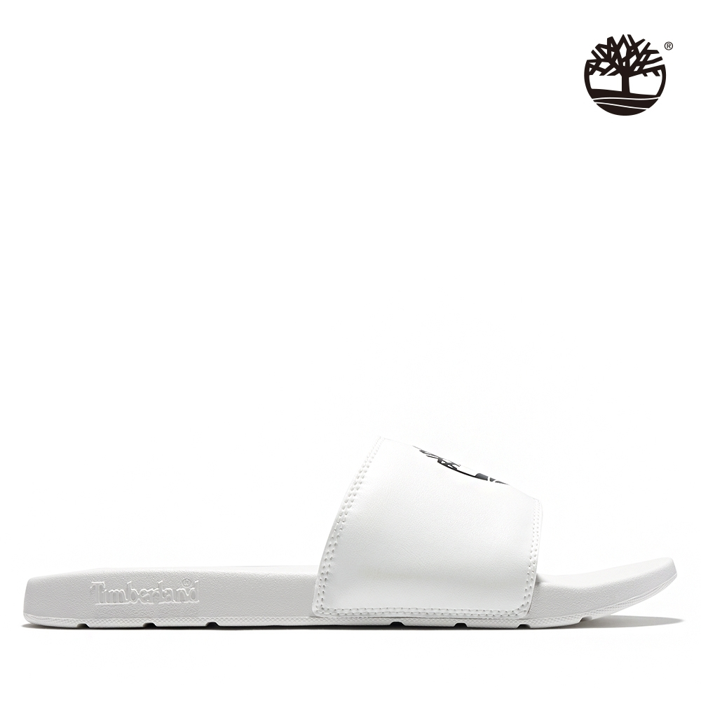 Timberland 男款白色品牌標誌休閒拖鞋|A24WN