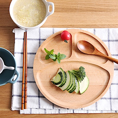 Homely Zakka 木趣食光日系木質圓型分隔餐盤