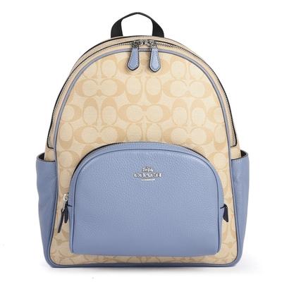 COACH 馬車經典滿版C LOGO PVC拼接荔枝紋皮革前口袋雙肩後背包-卡其/天藍色