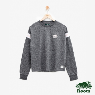 女裝Roots- 厚棉短版拼接長袖T恤-灰色