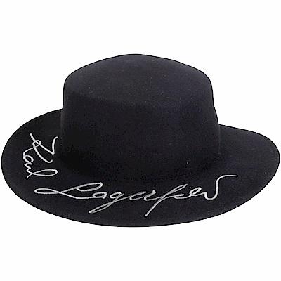 KARL LAGERFELD K/Signature 簽名刺繡寬檐羊毛帽(黑色)