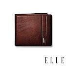福利品 ELLE HOMME 壓紋Logo6卡三折窗格真皮短夾-紳士棕