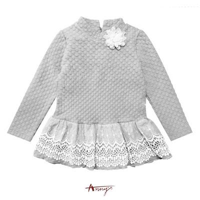 Anny夢幻甜美系立體蕾絲玫瑰花壓紋長版上衣*6404灰