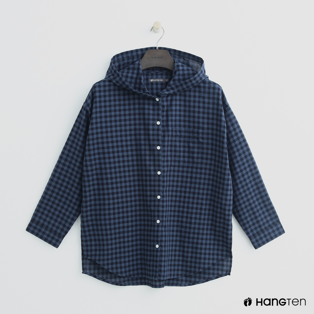 Hang Ten - 女裝 -格紋配色連帽襯衫 - 深藍