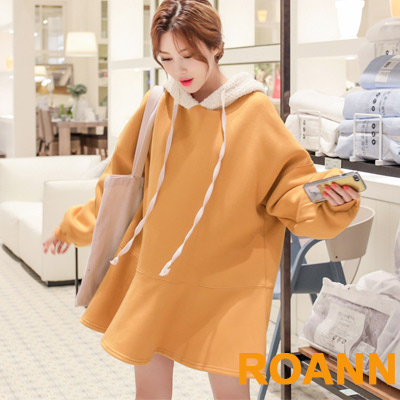 小清新純色加絨短款連帽洋裝 (黃色)-ROANN