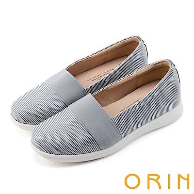 ORIN 引出度假氣氛 性格條紋平底便鞋-淺灰