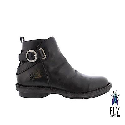 Fly London(女) NEW YORK 牛皮圓扣帥氣拉鍊短靴 - 萬里黑