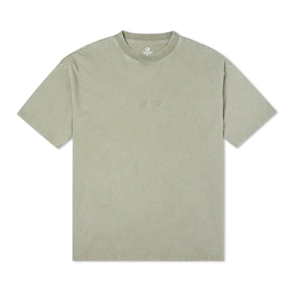 CONVERSE JACK PURCELL TEE 男女 短袖上衣 水洗 質感 灰綠色 10021630-A06