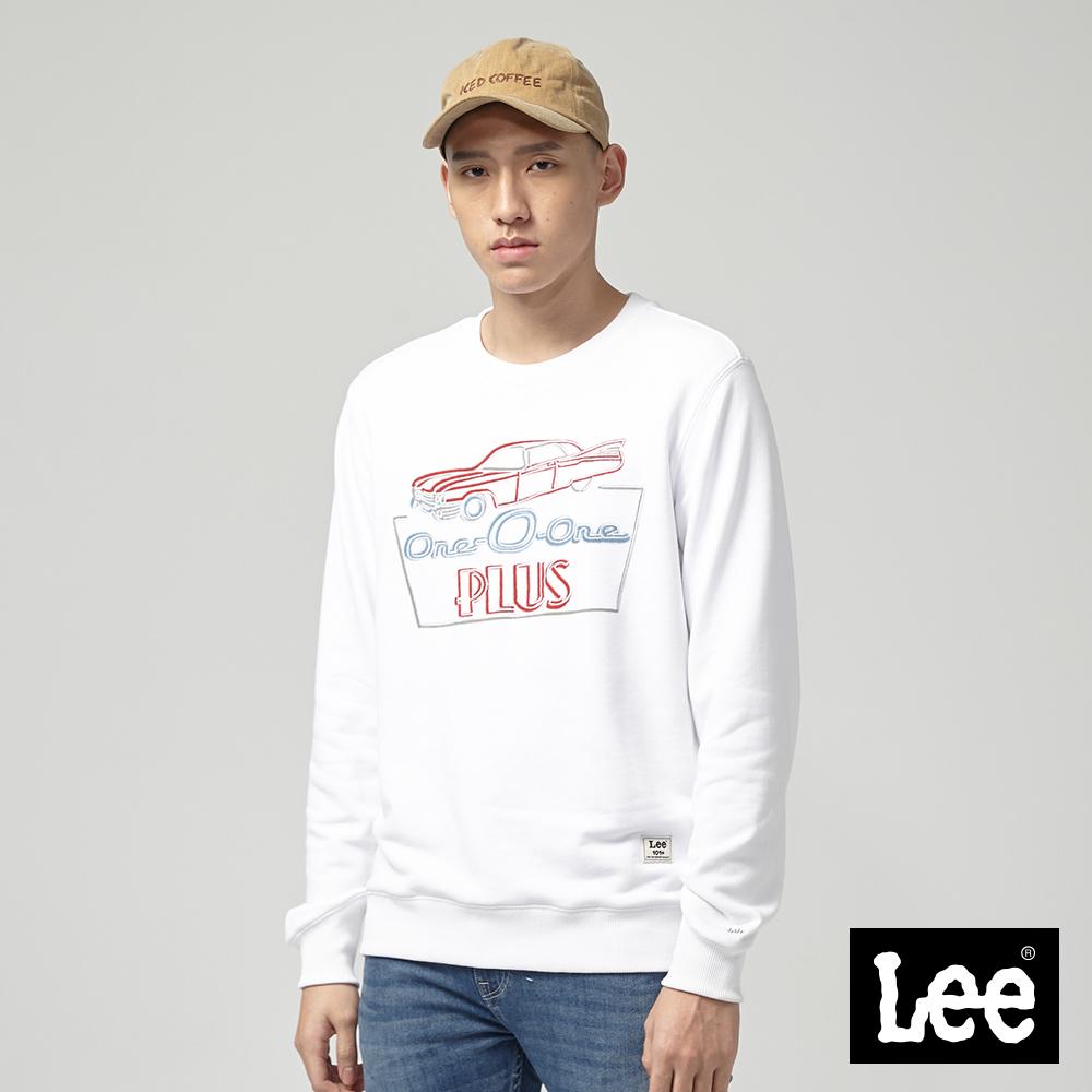 Lee 霓虹標示長袖圓領厚TEE/-白