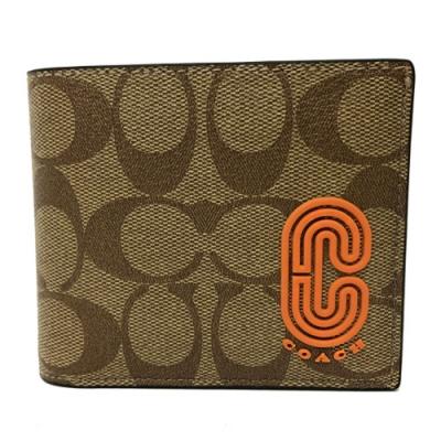 COACH 字母C LOGO男款8卡對折短夾附活動式證件夾禮盒(焦糖/橘)