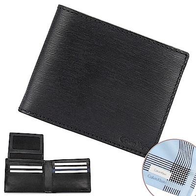 Calvin Klein 經典水波紋壓印LOGO短夾-黑/深藍(加贈帕巾)