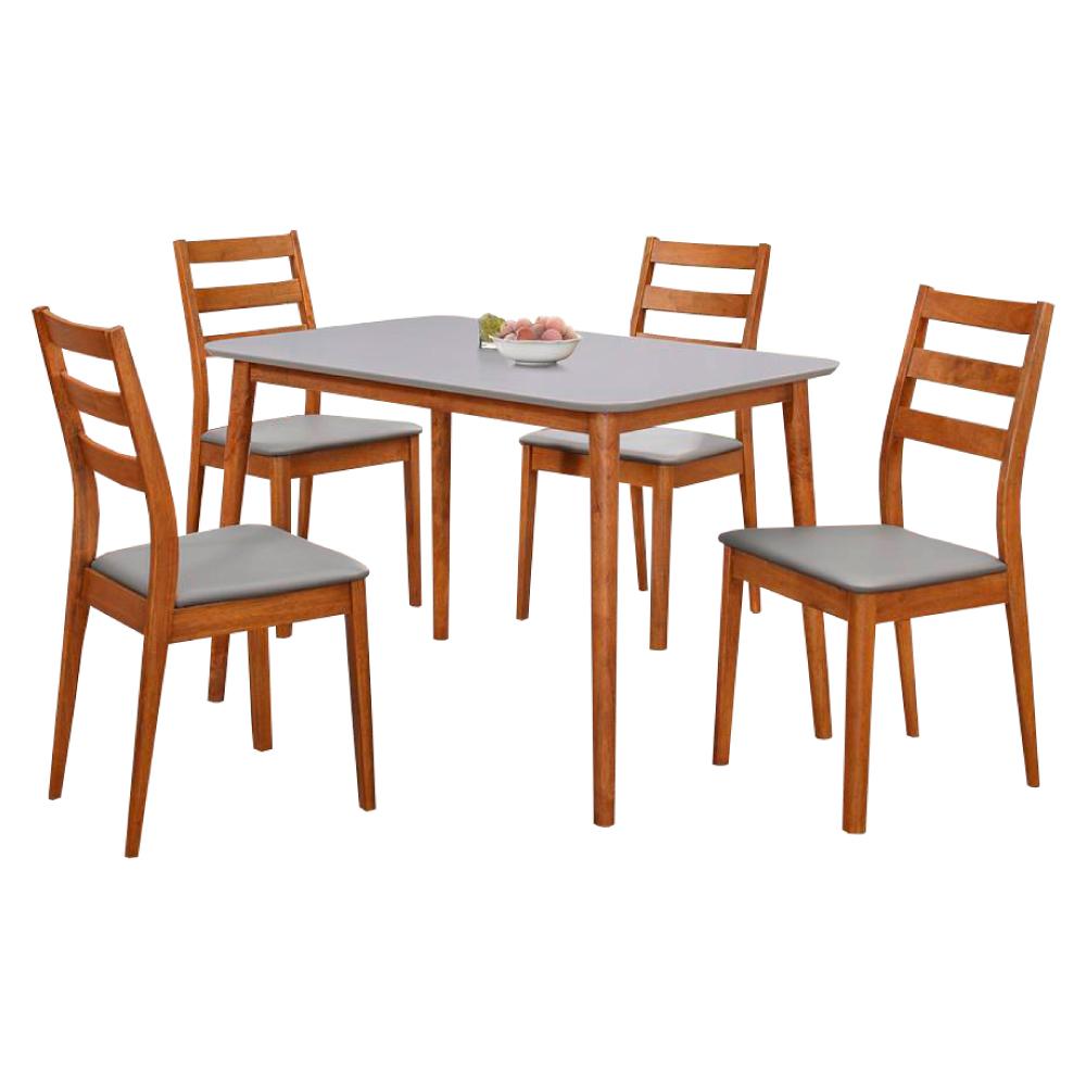 AS-愛琳胡桃3.6尺雙色餐桌椅組110x77x74cm(一桌四椅) @ Y!購物