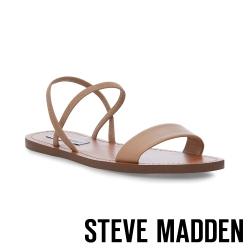 STEVE MADDEN-INSTANT 交叉條帶一字平底涼鞋-棕色