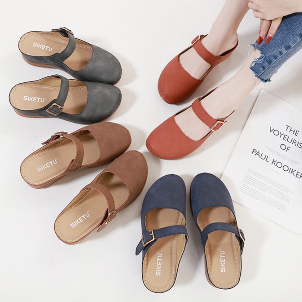 LN 現+預 輕盈大碼復古厚底包頭休閒鞋-4色