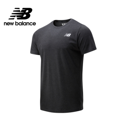 【New Balance】NB DRY科技棉感素面短袖上衣_男性_黑色_AMT01070BKH