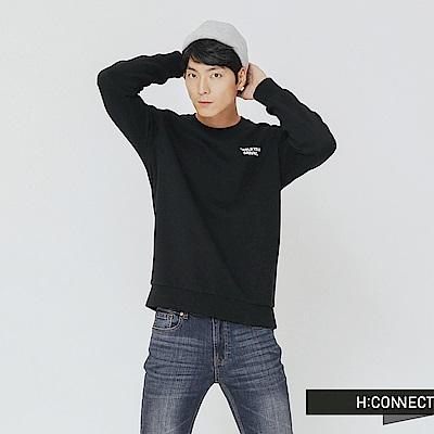 H:CONNECT 韓國品牌 男裝-後印字活力感大學T-黑