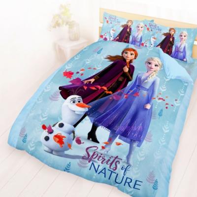 享夢城堡 雙人床包兩用被套四件組-冰雪奇緣FROZEN 秋日之森-藍