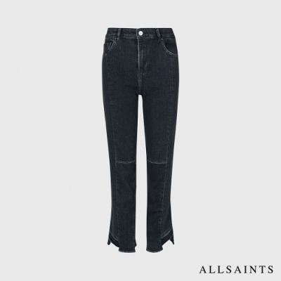 ALLSAINTS KIM 休閒舒適復古高腰修身不對稱下擺棉質牛仔褲-黑