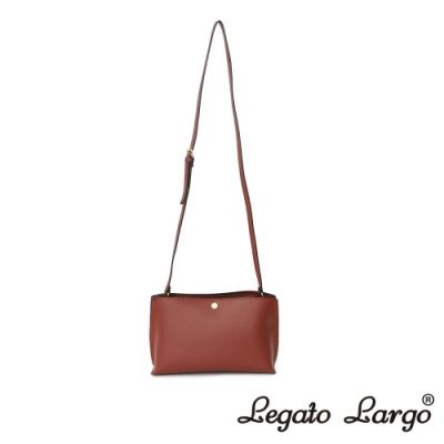 Legato Largo 驚異的輕量化 小法式輕便簡約 斜背小方包 紅棕色