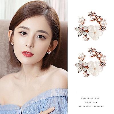 梨花HaNA 韓國925銀輕奢珠貝花園耳環