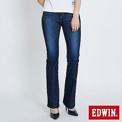 EDWIN JERSEYS 迦績褲 基本款中腰 靴型牛仔褲-女-原藍磨