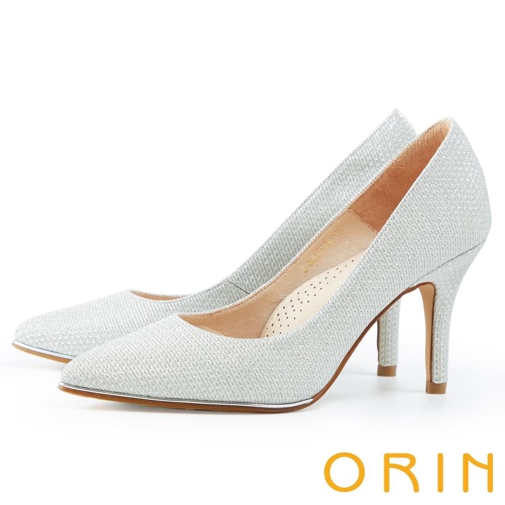 ORIN 閃耀尖頭金屬 女 高跟鞋 銀色