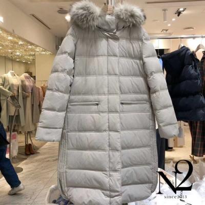 外套 正韓可拆式毛帽側開衩長版羽絨外套(灰)N2