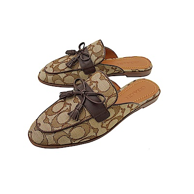 COACH經典LOGO帆布牛皮穆勒鞋懶人鞋-深咖啡