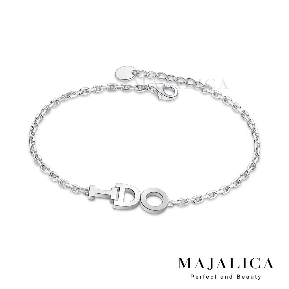 Majalica簡約925純銀手鍊英文字母女款銀手鍊 單個價格(MIT)