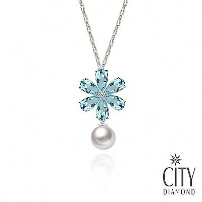 City Diamond 引雅 AKOYA珍珠冰心薄荷花朵純銀項鍊(東京Yuki系列)