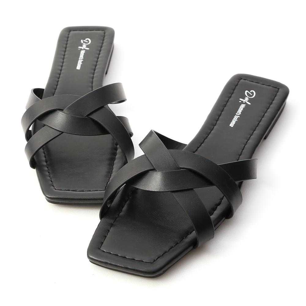D+AF 愜意午後.方頭編織平底涼拖鞋*黑