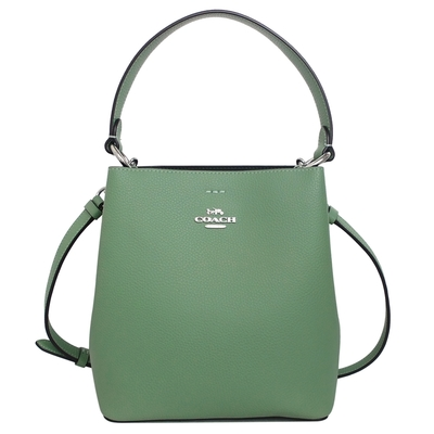 COACH海水綠荔枝紋全皮雙層肩背/斜背小款水桶包