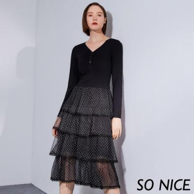 SO NICE優雅針織拼接波點網布洋裝