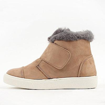 【AIRKOREA韓國空運】潮流魔鬼氈超保暖內鋪毛短筒靴平底靴-卡其